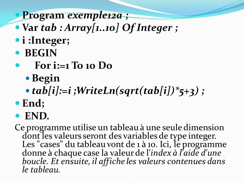 Var tab : Array[1..10] Of Integer ; i :Integer; BEGIN